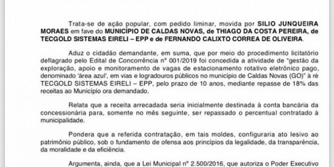⚖➡️#CaldasNovas| JUSTIÇA CONFIRMA LEGALIDADE NA IMPLANTAÇÃO DA ÁREA AZUL