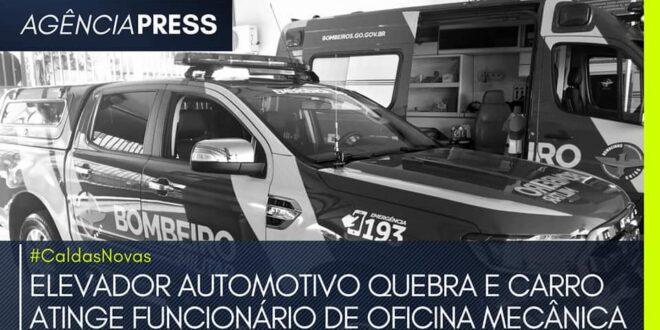 #CaldasNovas | ELEVADOR AUTOMOTIVO QUEBRA E CARRO ATINGE FUNCIONÁRIO DE OFICINA