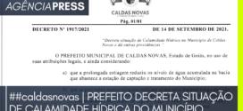 #caldasnovas | PREFEITO DECRETA SITUAÇÃO DE CALAMIDADE HÍDRICA DO MUNICÍPIO